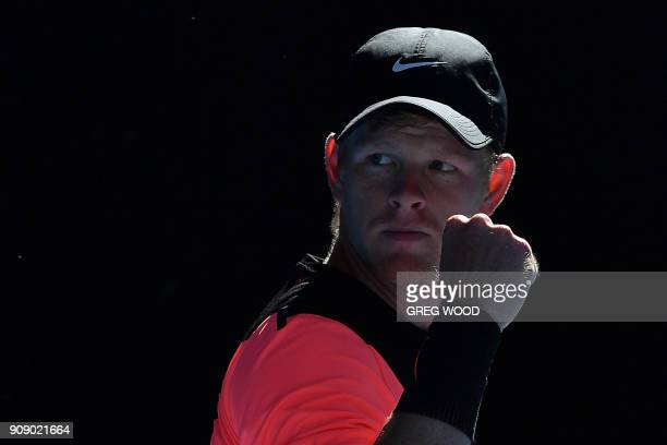 Britain's Kyle Edmund reacts to a point against Bulgaria's Grigor Dimitrov during their men's singles quarterfinals match on day nine of the...