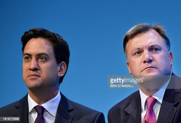 Britain's Labour party leader Ed Miliband and Shadow Chancellor of the Exchequer Ed Balls attend the second day of the Labour party conference in...
