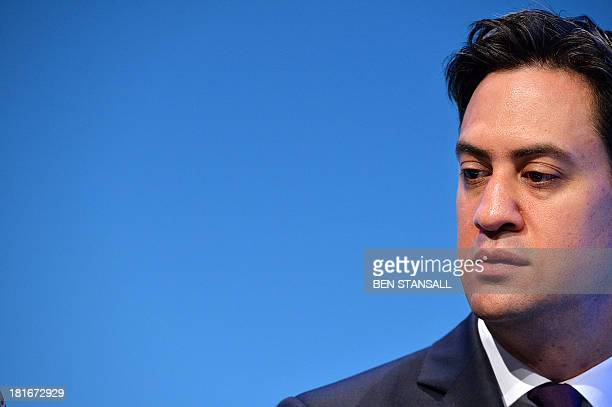Britain's Labour party leader Ed Miliband attends the second day of the Labour party conference in Brighton Sussex south England on September 23 2013...