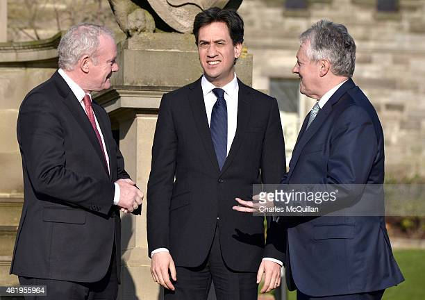 Britain's Labour party leader Ed Miliband meets with Irish Deputy First Minister Martin McGuinness and Leader of the Democratic Unionist Party Peter...