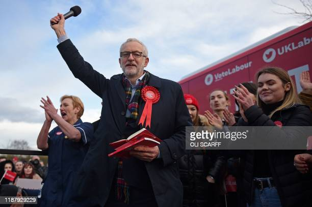 Britain's Labour Party leader Jeremy Corbyn acknowledges the applause during a general election campaign event in Stainton Village near Middlesbrough...