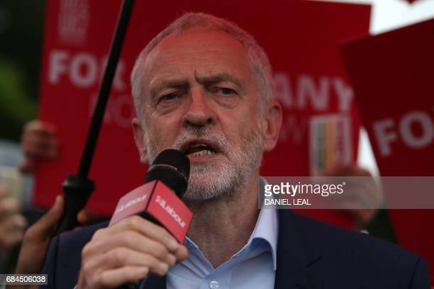 Britain's Labour Party leader Jeremy Corbyn addresses supporters in Southall west London on May 18 as campaigning continues in the build up to the...