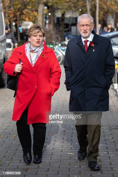 Britain's Labour Party leader Jeremy Corbyn and Shadow Foreign Secretary Emily Thornberry walk to their car after attending the Armistice Day...