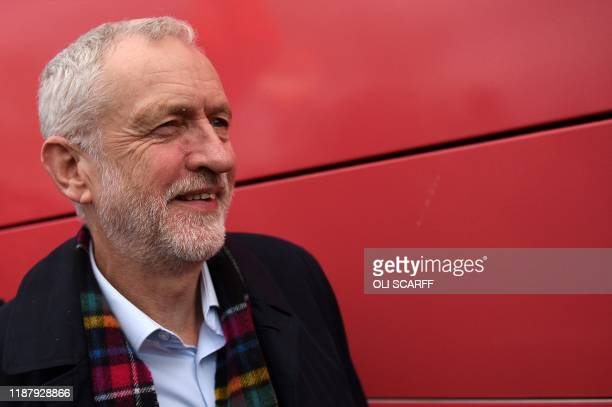 Britain's Labour Party leader Jeremy Corbyn arrives to attend a general election campaign event in Stainton Village near Middlesbrough north east...