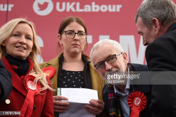Britain's Labour Party leader Jeremy Corbyn reacts as he attends a general election campaign event in Stainton Village near Middlesbrough north east...