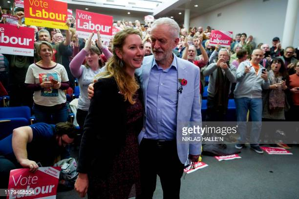 Britain's Labour Party leader Jeremy Corbyn talks with Labour Parliamentary Candidate for Gloucester Fran Boait as he joins a local campaign launch...