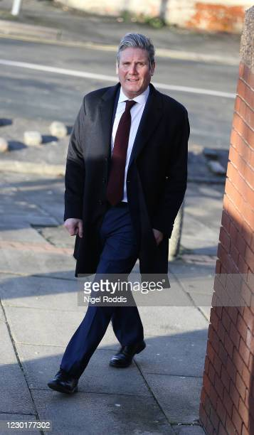 Britain's Labour Party Leader Keir Starmer arrives for a visit to Lightwaves Leisure Centre on December 17, 2020 in Wakefield, England. The Labour...
