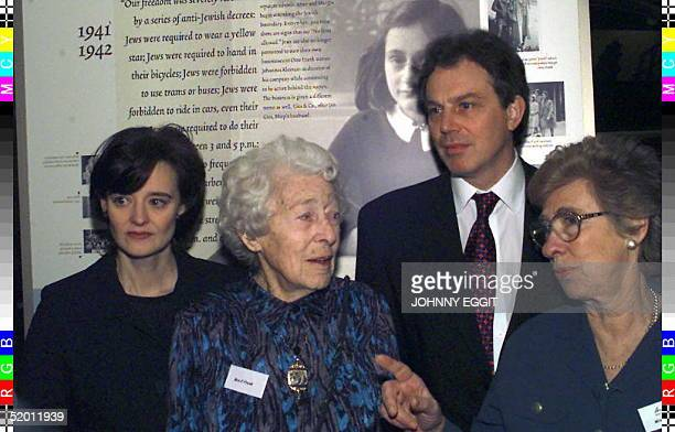 Britain's Labour Party Leader Tony Blair and wife Cherie when he opened the Anne Frank Exhibition in Southwark Cathedral 29 January With him as he...