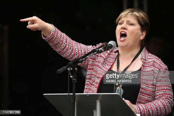 Britain's Labour Party shadow foreign secretary Emily Thornberry addresses a demonstration against the State Visit of US President Donald Trump in...