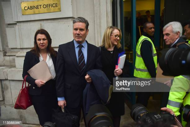 Britain's Labour Party's Shadow Secretary of State for Departing the European Union Keir Starmer and Labour Party's Shadow Business Secretary Rebecca...