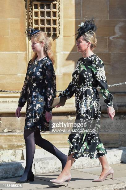 Britain's Lady Louise Windsor and Sophie Countess of Wessex attend the Easter Mattins Service at St George's Chapel Windsor Castle on April 21 2019...