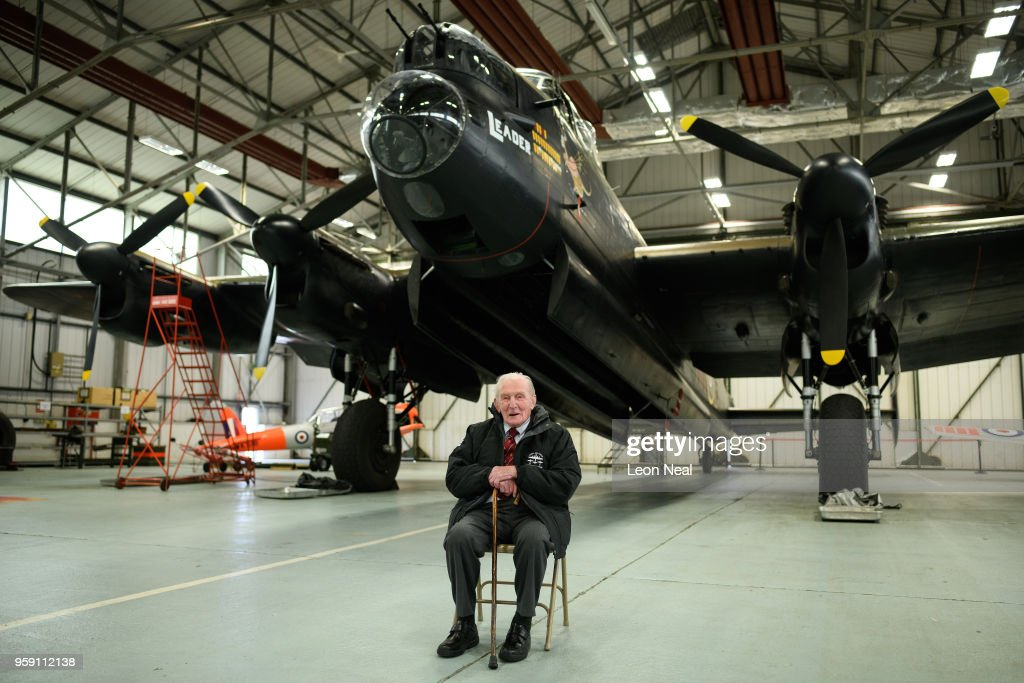 Britain's last surviving 'Dambuster', Squadron Leader George 'Johnny' Johnson poses for a photograph during an event to mark the 75th anniversary of the 'Dambusters' raids, at RAF Coningsby on May 16, 2018 in Coningsby, England. The Royal Air Force Battle of Britain Memorial Flight was hoping to fly one of the two remaining Avro Lancaster bombers over the Derwent and Ladybower reservoirs, but high winds prevented the aircraft from taking off. 2018 marks the 100th anniversary of the formation of the RAF and the 75th anniversary of the 617 Squadron Dambusters operation. The Dambuster raids, or 'Operation Chastise' was an attack on German dams on 16-17 May 1943 by Royal Air Force No. 617 Squadron, using an innovative 'bouncing bomb', which skimmed on the surface of the reservoir before hitting the dam wall and exploding.