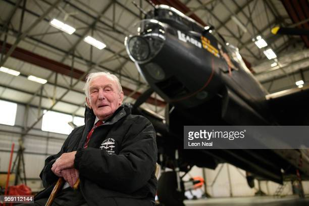 Britain's last surviving 'Dambuster' Squadron Leader George 'Johnny' Johnson poses for a photograph during an event to mark the 75th anniversary of...