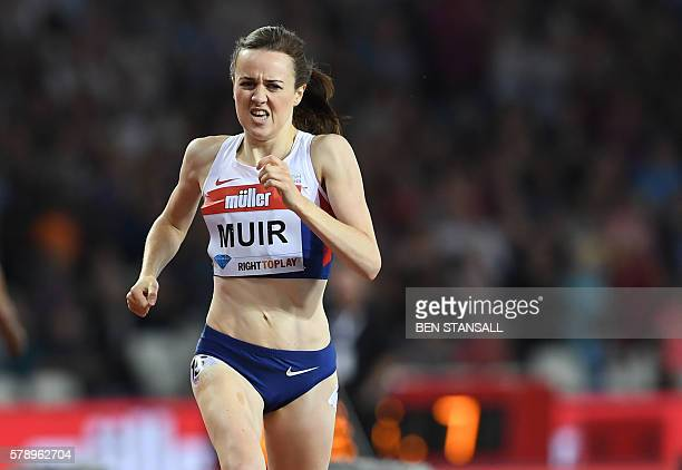 Britain's Laura Muir wins the women's 1500m at the IAAF Diamond League Anniversary Games athletics meeting at the Queen Elizabeth Olympic Park...