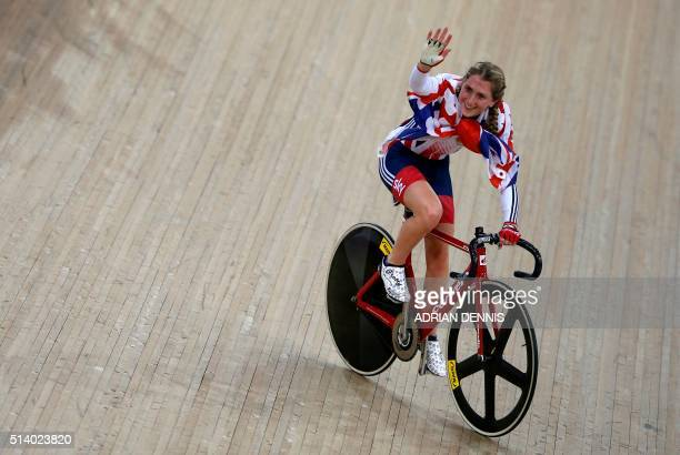 Britain's Laura Trott celebrates after winning the Women's Omnium during the 2016 Track Cycling World Championships at the Lee Valley VeloPark in...