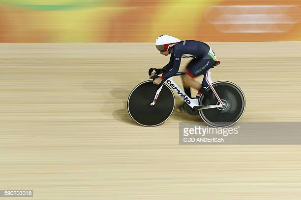 TOPSHOT Britain's Laura Trott competes in the Women's Omnium Flying Lap track cycling event at the Velodrome during the Rio 2016 Olympic Games in Rio...
