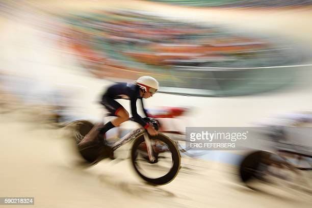 Britain's Laura Trott competes in the Women's Omnium Points race track cycling event at the Velodrome during the Rio 2016 Olympic Games in Rio de...