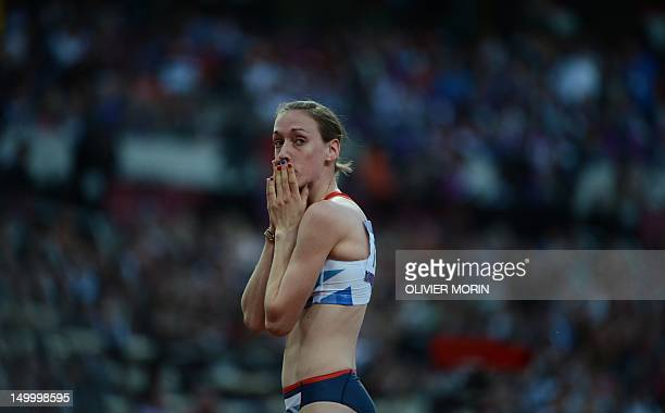 Britain's Laura Weightman reacts after competing in the women's 1500m semifinals at the athletics event of the London 2012 Olympic Games on August 8...