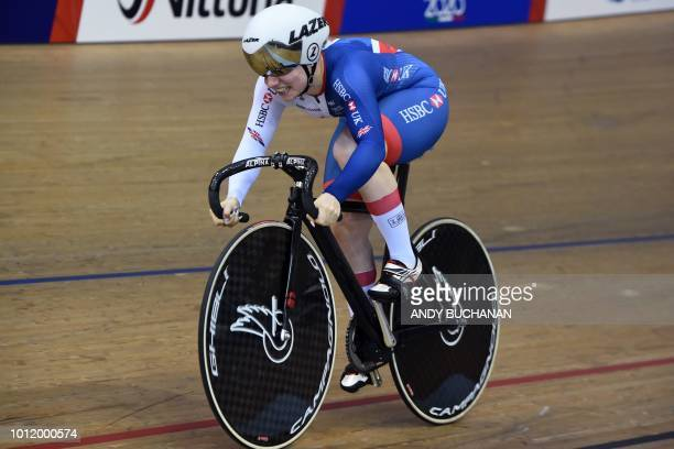 Britain's Lauren BateLowe competes in the women's 500m time trial qualifying of the track cycling at the Sir Chris Hoy velodrome during the 2018...