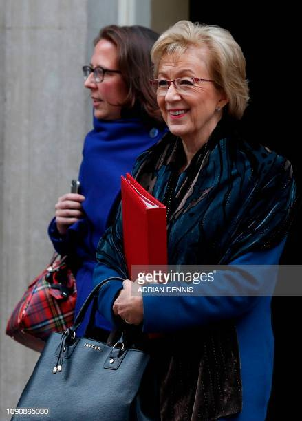 Britain's Leader of the House of Commons Andrea Leadsom and Britain's Leader of the House of Lords Baroness Natalie Evans leave after having attended...