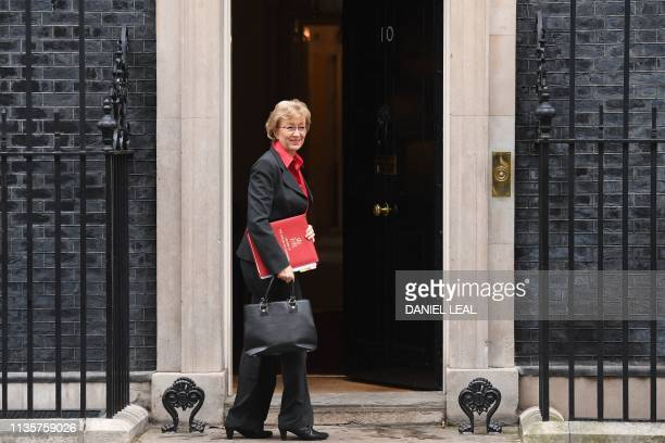 Britain's Leader of the House of Commons Andrea Leadsom arrives in Downing street in central London on April 8 2019 Prime Minister Theresa May will...
