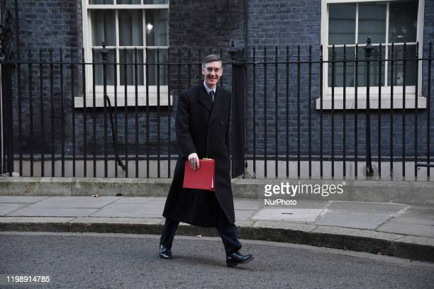 Britains Leader of the House of Commons, Jacob Rees-Mogg leaves after attending the weekly Cabinet meeting at 10 Downing Street, London on February...