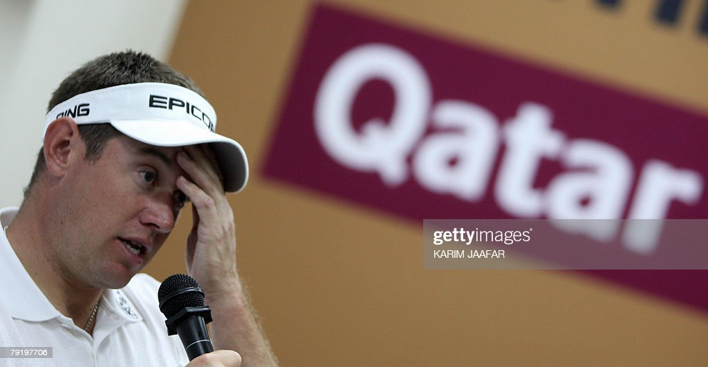 Britain's Lee Westwood talks to the media at the Qatar Masters Golf Tournament, 24 January 2008 in Doha. Westwood, the joint runner-up at the Abu Dhabi Golf Championship along with Swede Henrik Stenson, continued his brilliant early season form, shooting a five-under-par 67 to share the lead with South African Anton Haig in the first round of the 2.5-million-dollar Qatar Masters today.