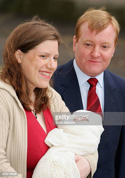 Britain's Liberal Democrat leader Charles Kennedy poses with his wife Sarah and new born son Donald James on April 12 2005 in London England Their...