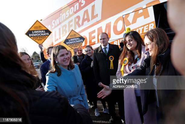 Britain's Liberal Democrat leader Jo Swinson greets supporters at a general election campaign event at Esher Rugby Club in Esher south west London on...