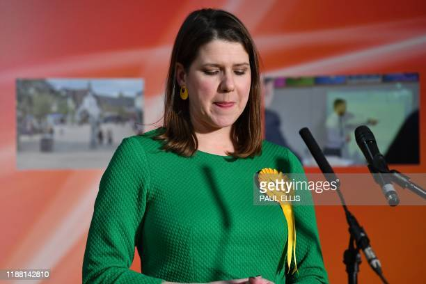 Britain's Liberal Democrat leader Jo Swinson reacts as she speaks on stage after losing her seat at the East Dunbartonshire count centre in...