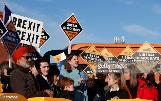 Britain's Liberal Democrat leader Jo Swinson speaks at a general election campaign event at Esher Rugby Club in Esher south west London on December...