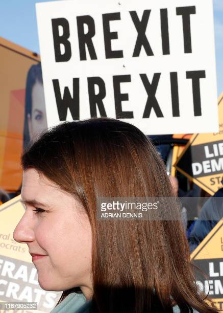 Britain's Liberal Democrat leader Jo Swinson talks with supporters durring a general election campaign event at Esher Rugby Club in Esher south west...