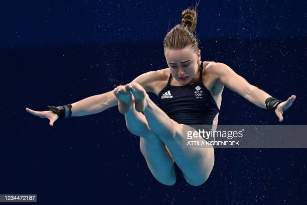 Britain's Lois Toulson competes in the women's 10m platform diving final event during the Tokyo 2020 Olympic Games at the Tokyo Aquatics Centre in...