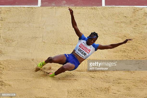 Britain's Lorraine Ugen competes in the final of the women's long jump athletics event at the 2017 IAAF World Championships at the London Stadium in...