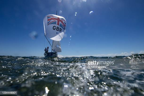 Britain's Luke Patience and Chris Grube warm up before the men's two-person dinghy 470 medal race during the Tokyo 2020 Olympic Games sailing...
