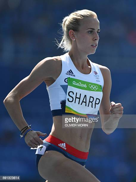 Britain's Lynsey Sharp competes in the Women's 800m Round 1 during the athletics event at the Rio 2016 Olympic Games at the Olympic Stadium in Rio de...
