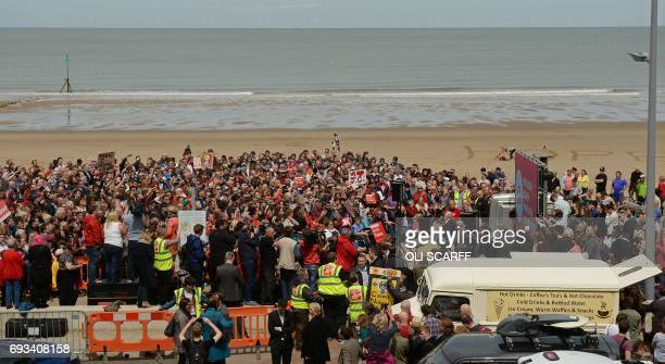 Britain's main opposition Labour Party leader Jeremy Corbyn addresses supporters during a campaign visit in Colwyn Bay north Wales on June 7 on the...