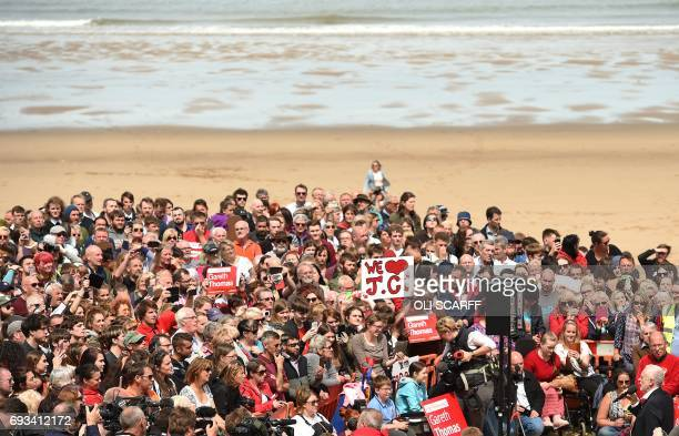 Britain's main opposition Labour Party leader Jeremy Corbyn addresses supporters at a campaign visit in Colwyn Bay north Wales on June 7 on the eve...