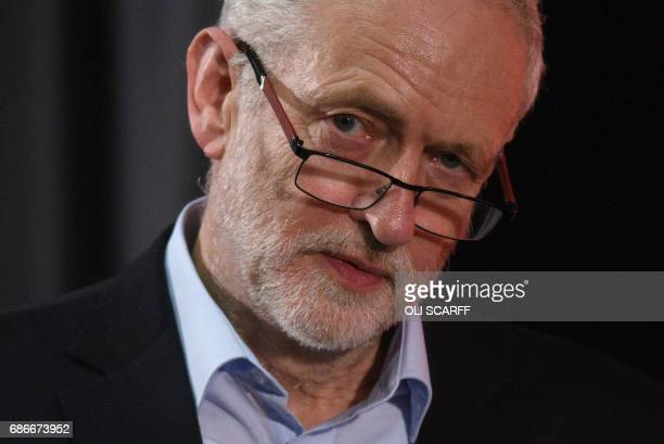 Britain's main opposition Labour Party leader Jeremy Corbyn attends a general election campaign event in Kingston upon Hull northern England on May...