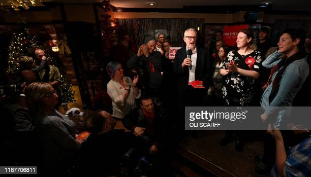 Britain's main opposition Labour party leader Jeremy Corbyn delivers a speech during a campaign event in Carlisle, north-west England on December 10,...