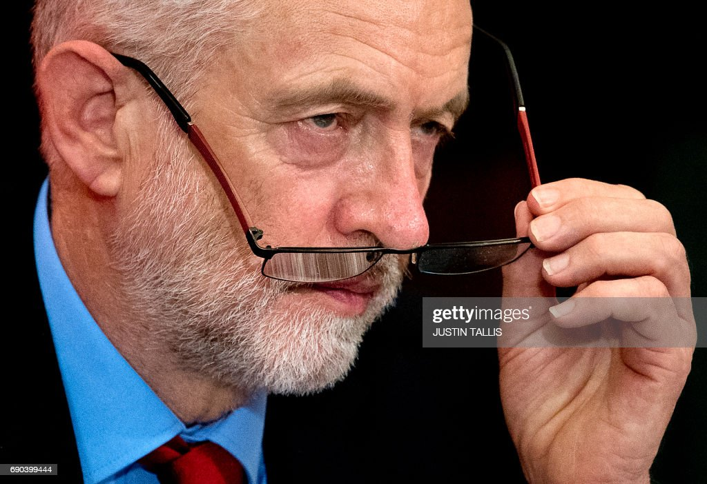 CORRECTION - Britain's main opposition Labour party leader Jeremy Corbyn delivers a speech during a general election campaign event in London on May 31, 2017, as campaigning continues in the build up to the general election on June 8. PHOTO / Justin TALLIS / The erroneous mention[s] appearing in the metadata of this photo by Justin TALLIS has been modified in AFP systems in the following manner: [Britain's main opposition Labour party leader Jeremy Corbyn] instead of [Britain's main opposition Labour party]. Please immediately remove the erroneous mention[s] from all your online services and delete it (them) from your servers. If you have been authorized by AFP to distribute it (them) to third parties, please ensure that the same actions are carried out by them. Failure to promptly comply with these instructions will entail liability on your part for any continued or post notification usage. Therefore we thank you very much for all your attention and prompt action. We are sorry for the inconvenience this notification may cause and remain at your disposal for any further information you may require.