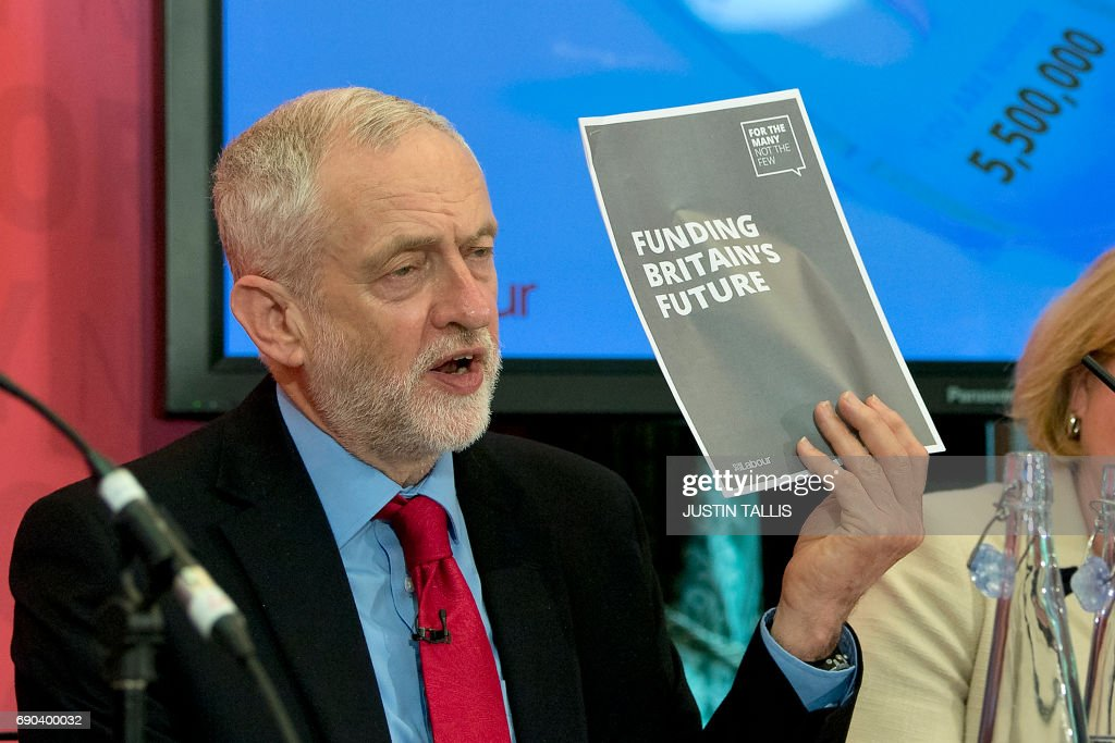 Britain's main opposition Labour party leader Jeremy Corbyn hosts a press conference during a general election campaign event in London on May 31, 2017, as campaigning continues in the build up to the general election on June 8. PHOTO / Justin TALLIS