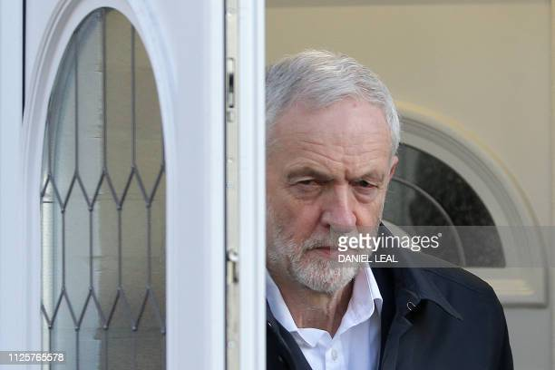 Britain's main opposition Labour Party leader Jeremy Corbyn leaves his home in London on February 19 2019 Seven MPs quit Britain's main opposition...