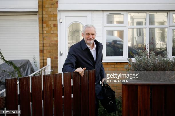 Britain's main opposition Labour Party leader Jeremy Corbyn leaves his home in London on February 20 2019 An eighth Labour MP quit the party in...