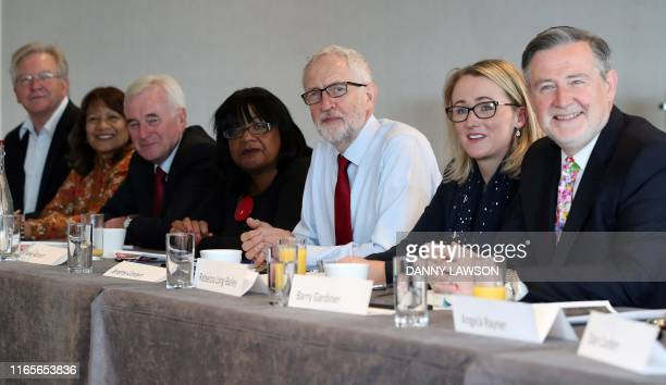 Britain's main opposition Labour Party leader Jeremy Corbyn poses for a photograph as he sits with Shadow Treasury Secretary Peter Dowd Shadow Leader...