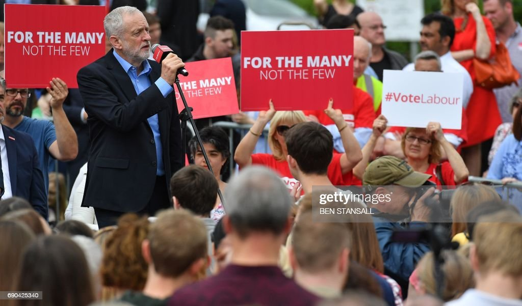 Britain's main opposition Labour party leader Jeremy Corbyn speaks during a general election campaign rally in Reading, west of London, on May 31, 2017, as campaigning continues in the build up to the general election on June 8. PHOTO / Ben STANSALL