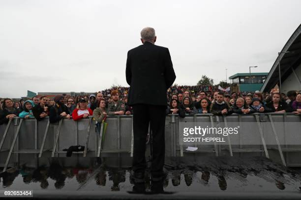 TOPSHOT Britain's main opposition Labour Party leader Jeremy Corbyn speaks at a general election campaign event in Gateshead northeast England on...