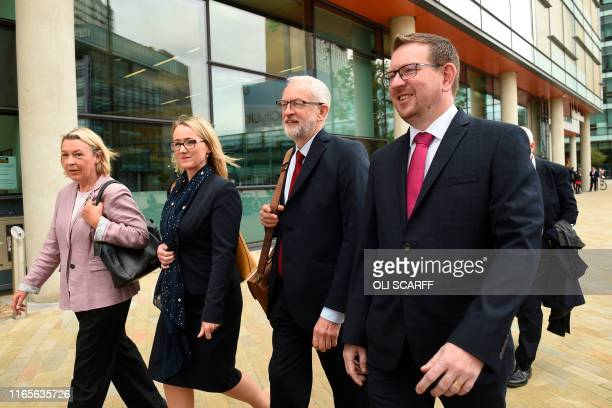 Britain's main opposition Labour Party leader Jeremy Corbyn walks with members of his shadow cabinet Barbara Keeley Rebecca Long Bailey and Andrew...