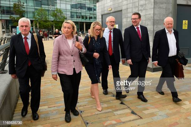 Britain's main opposition Labour Party leader Jeremy Corbyn walks with members of his shadow cabinet John McDonnell Barbara Keeley Rebecca Long...