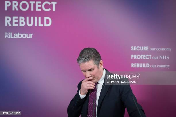 Britain's main opposition Labour Party leader Keir Starmer delivers a virtual speech on his party's vision for the country's economic future in the...